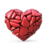 Broken red heart made of red rocks. 3D