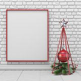Mock up blank picture frame, Christmas decoration wireframe pyra