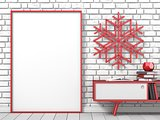 Mock up blank picture frame, Christmas decoration popsicle stick