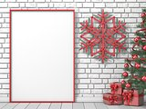 Mock up blank picture frame, Christmas tree, popsicle sticks sno