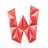 Red modern triangular font letter W. 3D