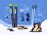 Set of equipment for skiing