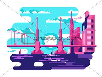 Modern urban bridge design flat