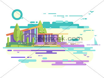 Modern house with panoramic windows