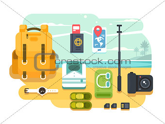 Travel or vacation accessories flat design