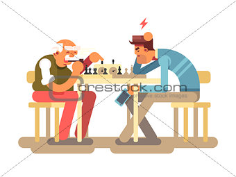 People play chess game
