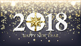 Vector 2018 Happy New Year background with golden gift with bow
