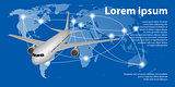 Flying airplane on World map with trace line. Travel airplane banner concept with copy space. Vector illustration.
