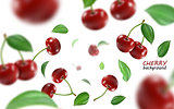 Flying red cherry background. Realistic quality vector.