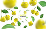Flying yellow cherries background. Realistic quality vector.