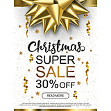Christmas sale advertising banner. Popular banners dimensions. Golden and black objects on white background