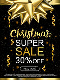 Christmas sale advertising banner. Popular banners dimensions. Golden and white objects on black background