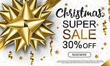 Christmas sale header with golden band, serpantine and lettering on white background. Horizontal vector illustration. Template for advertising.