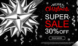 Christmas sale header with silver band, serpantine and lettering on black background. Horizontal vector illustration. Template for advertising.