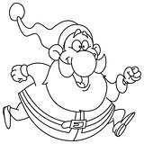Outlined running santa