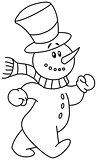 Outlined snowman walking