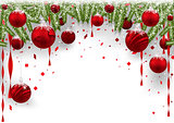 Christmas Background with Red Baubles and Coniferous Branches