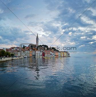 Rovinj. Beautiful romantic old town of Rovin during sunset,Istrian Peninsula,Croatia,Europe.