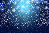 Christmas snowflakes on blue background. Vector Illustration.