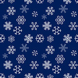 Christmas snowflakes on Blue background. Seamless pattern. Vector Illustration.