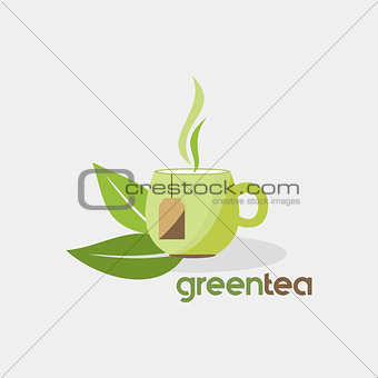 green tea organic drink vector logo