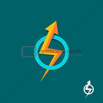 arrow bolt sign vector logo