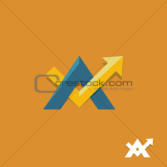 arrow up sign business vector logo