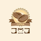coffee bean and mug premium sign vector logo