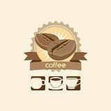 coffee bean and mug premium sign vector logo