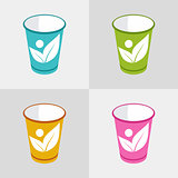 cup organic label colored set vector