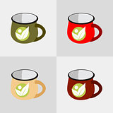 cup organic label set vector