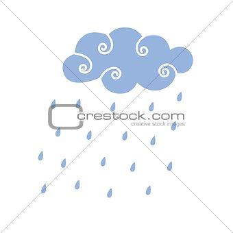 Blue Rain Cloud Vector Illustration