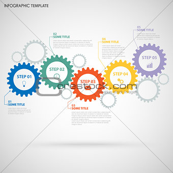 Abstract Info graphic with design flat gear wheels template