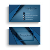 Business card with design abstract blue triangles template