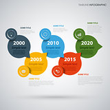 Time line info graphic with colored round design pointers