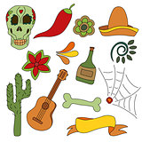 Hand drawn set of mexican symbols - guitar, sombrero, tequila, skull
