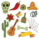 Hand drawn set of mexican symbols - guitar, sombrero, tequila, skull