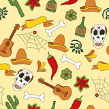 Mexico icons seamless pattern - Traditional mexican elements background