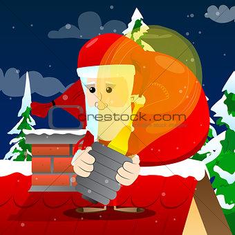 Santa Claus holding big idea bulb.