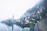 Snow falling over Hallstatt village