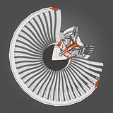 Turbo jet engine aircraft. Vector line illustration.