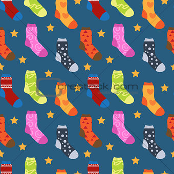 Winter socks with different prints seamless pattern. Christmas sock repeating texture. Endless background. Vector illustration.