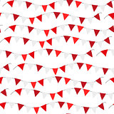Poland Independence day seamless pattern. Red, white flags, bunting repeating texture, endless background. Isolated on white background. Vector illustration.
