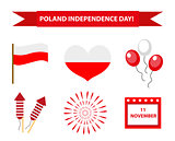 Poland Independence Day icon set, flat style. Collection of design elements with flag, heart, balloons, calendar, firework. Isolated on white background. Vector illustration.