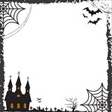 Halloween square frame for text with cobweb, bat, castle. Template for your design greeting cards, invitations, posters. Vector illustration.