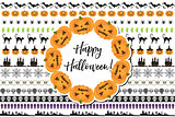 Halloween set of holiday borders decorations. Collection border of elements for your design. Isolated on white background. Vector illustration.