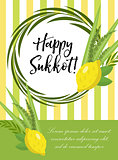 Happy Sukkot flyer, posters, invitation. Sukkot template for your design greeting card and more with etrog, lulav, Arava, Hadas. Vector illustration.