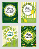 Happy Sukkot set of flyers or posters. Sukkot collection of templates for your design greeting cards and more. Vector illustration.