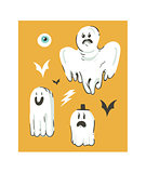 Hand drawn vector abstract cartoon Happy Halloween illustrations collection set with different funny ghosts decoration elements isolated on orange background.