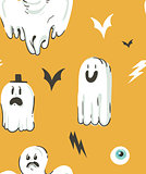 Hand drawn vector abstract cartoon Happy Halloween illustrations collection seamless pattern with different funny ghosts decoration elements isolated on orange background.